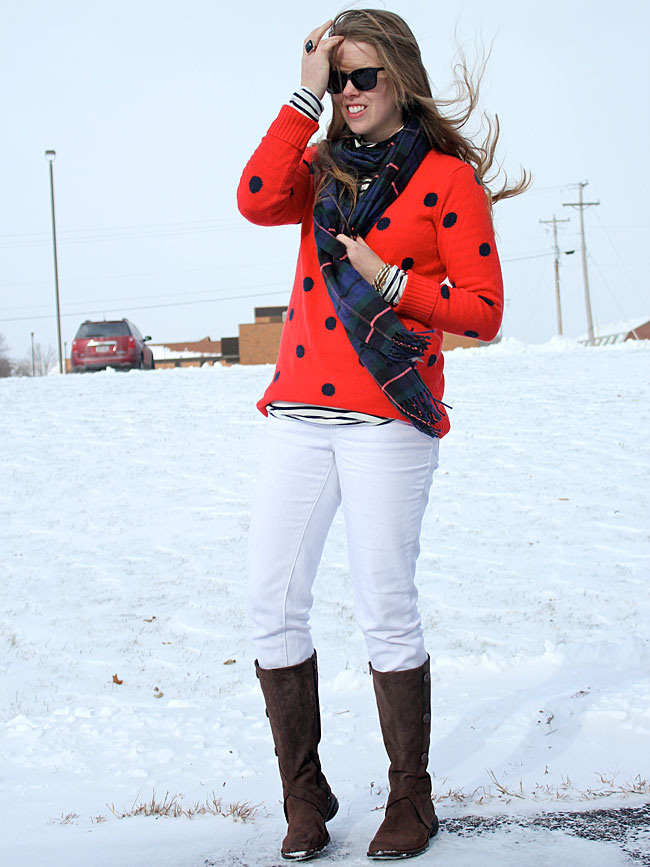 white-jeans-red-polka-dots-plaid-scarf
