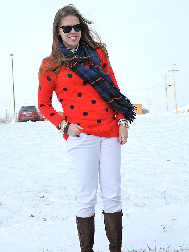 white-jeans-red-polka-dots-plaid-scarf3