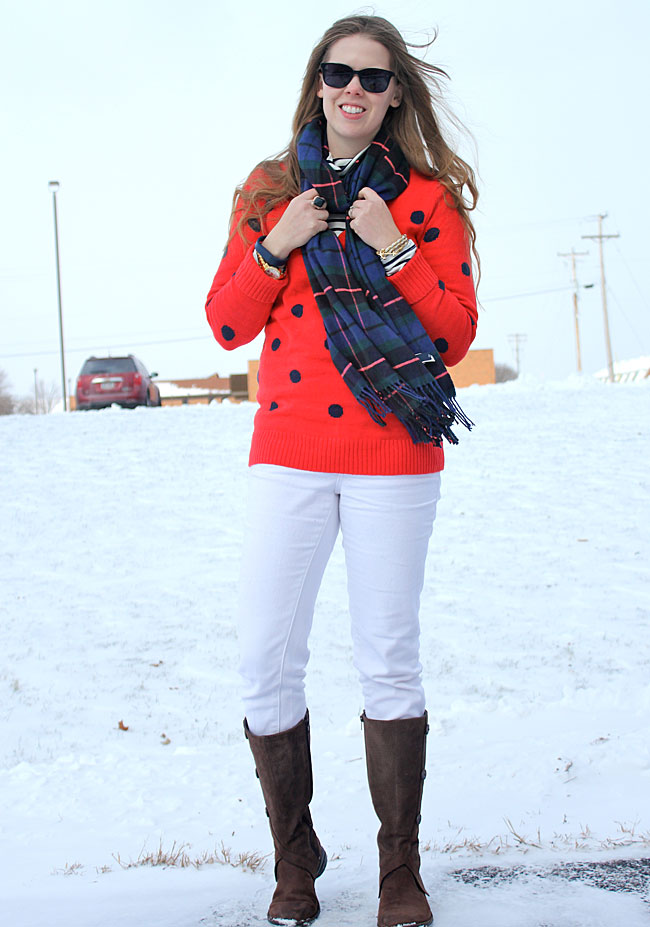 white-jeans-red-polka-dots-plaid-scarf4