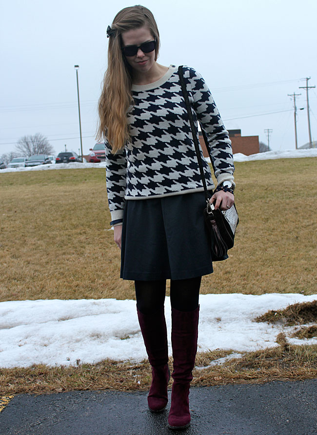 blue-Milly-dress-houndstooth-sweater-wine-boots