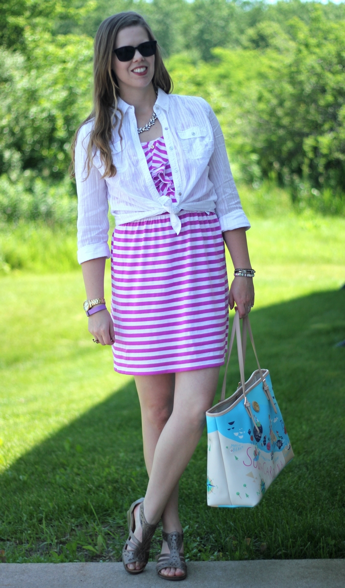 purple striped lilly dress white button up 2