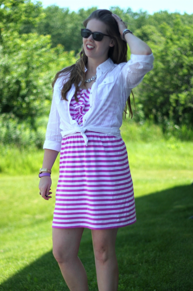 purple striped lilly dress white button up 3