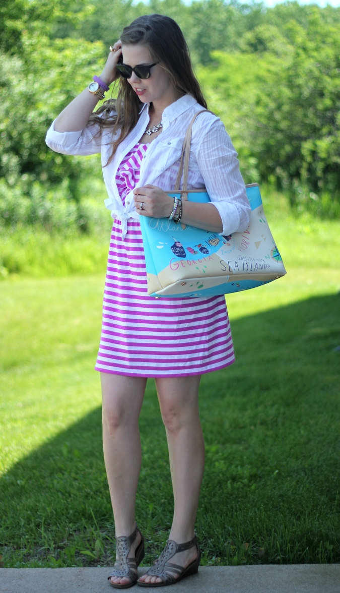 purple striped lilly dress white button up