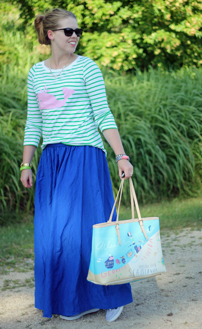 pink-whale-green-striped-tee-blue-maxi-skirt-2
