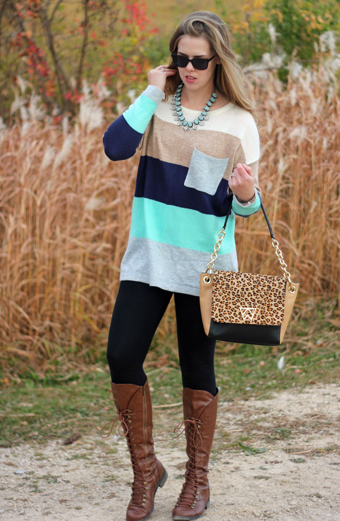 mint-striped-sweater-tunic-black-leggings-brown-lace-up-boots-2