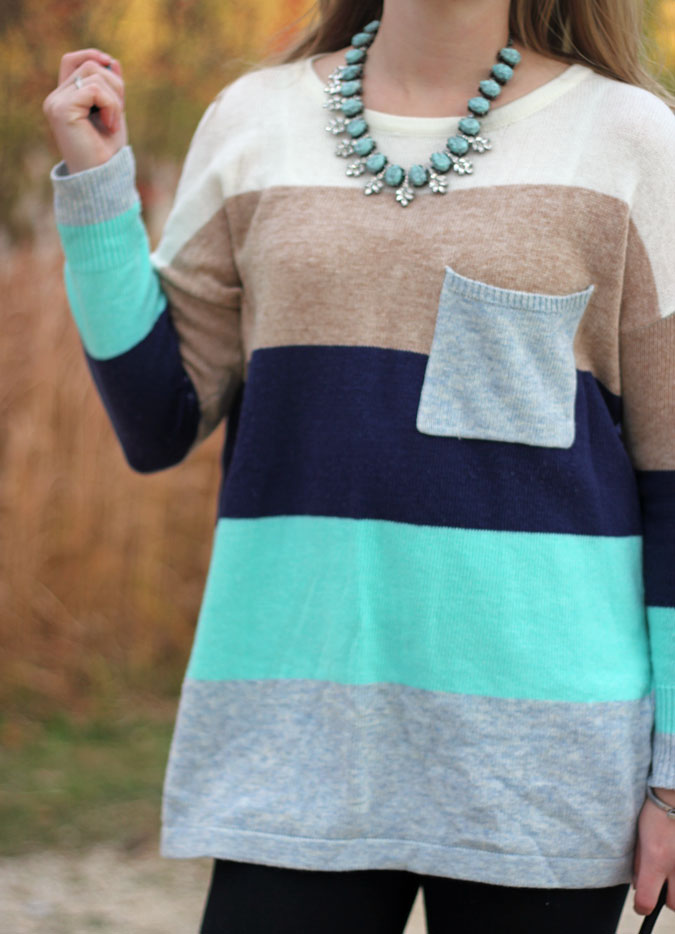 mint-striped-sweater-tunic-black-leggings-brown-lace-up-boots-3