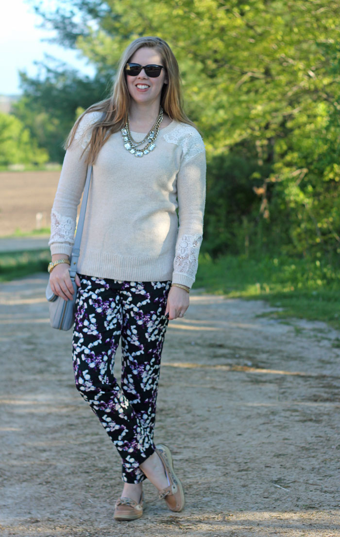 Floral pants, cream sweater with lace accents, gold statement necklace, Sperrys