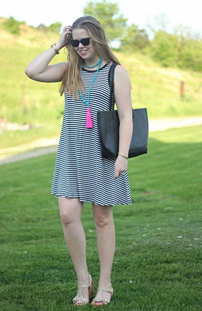 Black and white striped swing dress, Beaded by W Abilene necklace, black tote, Clarks sandals