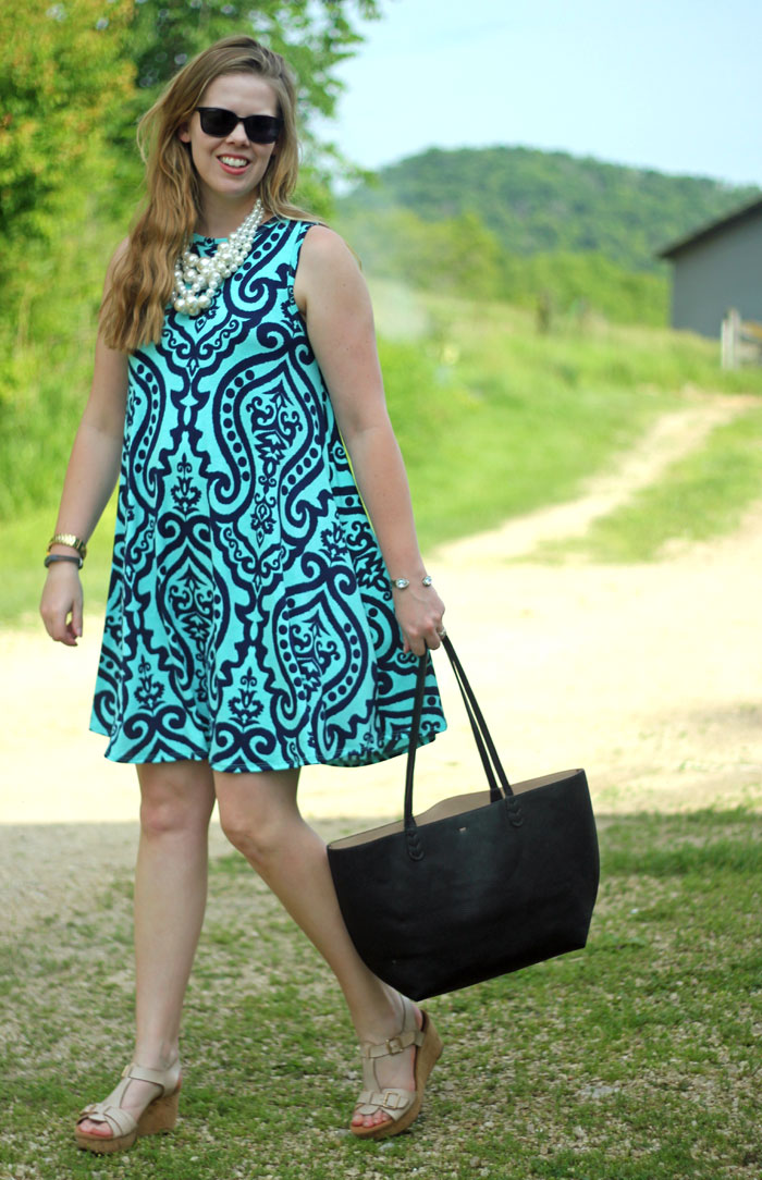 Navy and mint damask dress with Mirina Collections pearl necklace
