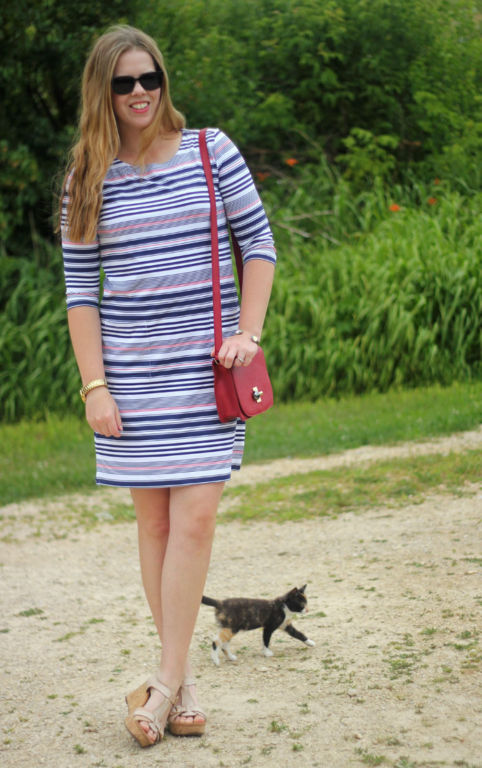 Persifor red, white and blue striped dress with red crossbody bag