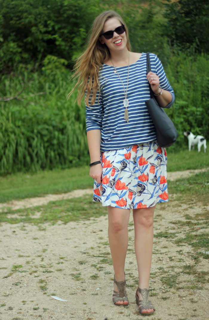 Floral and Stripes: Forever 21 striped top, orange floral Old Navy skirt | Puppies & Pretties