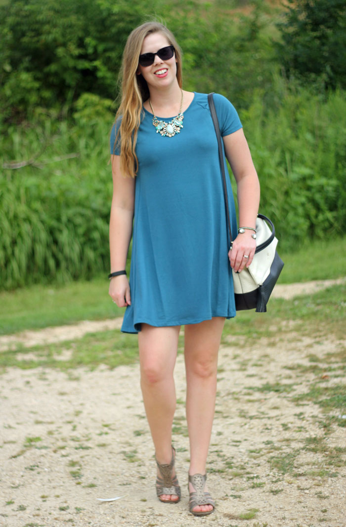 Chloe and Isabel jewelry, teal swing dress, Kate Spade purse | Puppies & Pretties