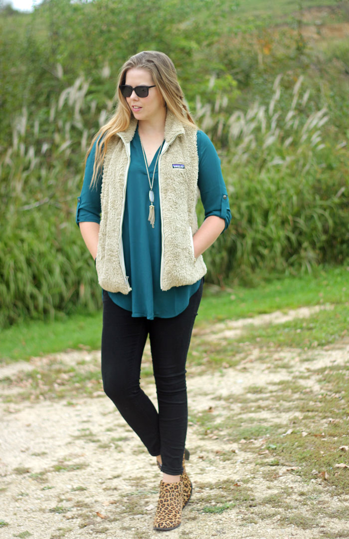 5 ways to wear vests | dressy look with a vest with tunic and skinny jeans | Puppies & Pretties