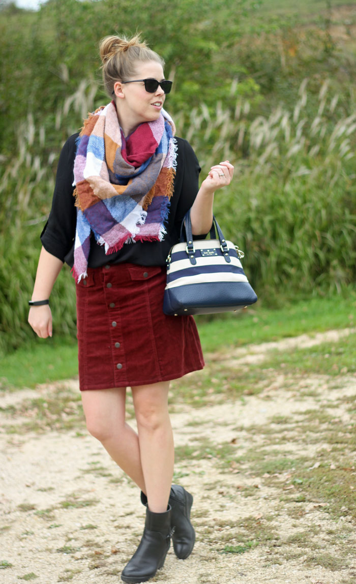 Black Lush tunic, button up skirt, blanket scarf, booties, Kate Spade purse | Puppies & Pretties