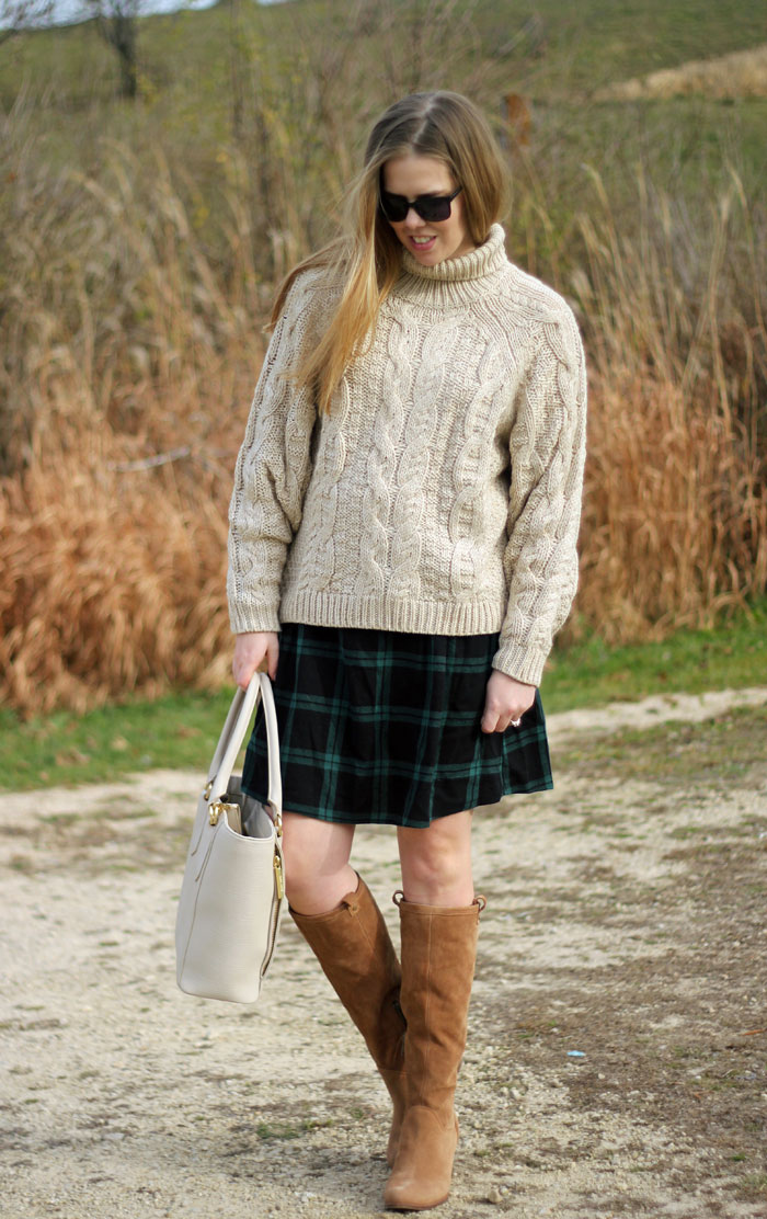 Cozy in Plaid: H&M chunky turtleneck sweater, green plaid skirt, UGG Ava boots, Dagne Dover tote   Puppies & Pretties