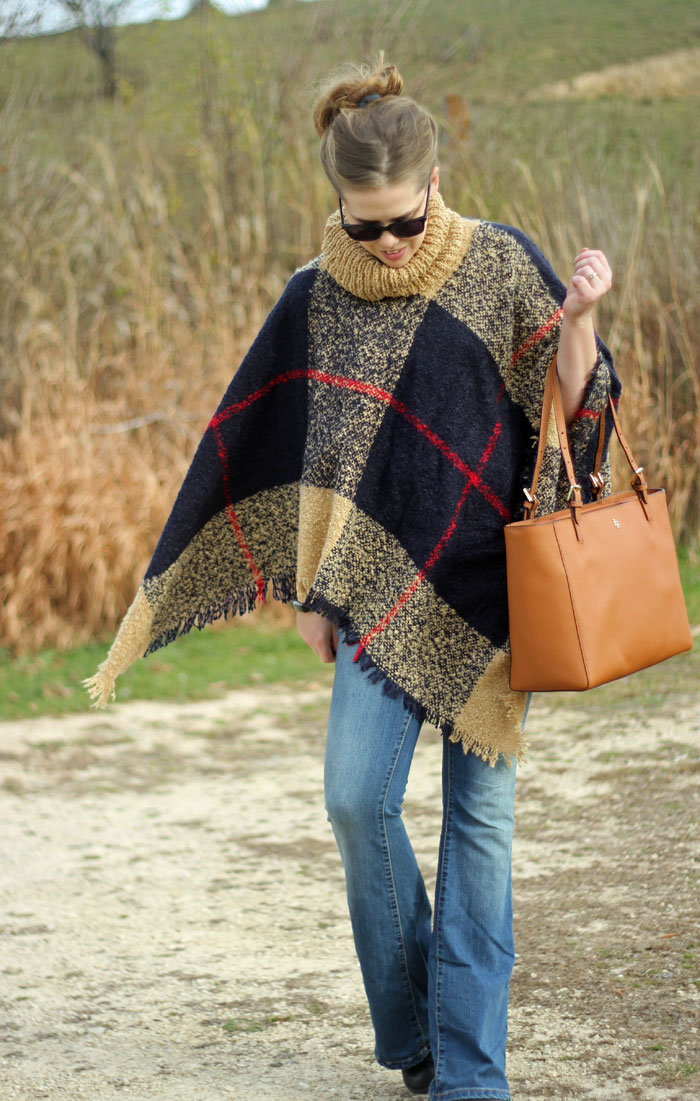 How to wear a plaid poncho: Grace & Lace poncho, flare jeans, booties, Tory Burch tote   Puppies & Pretties