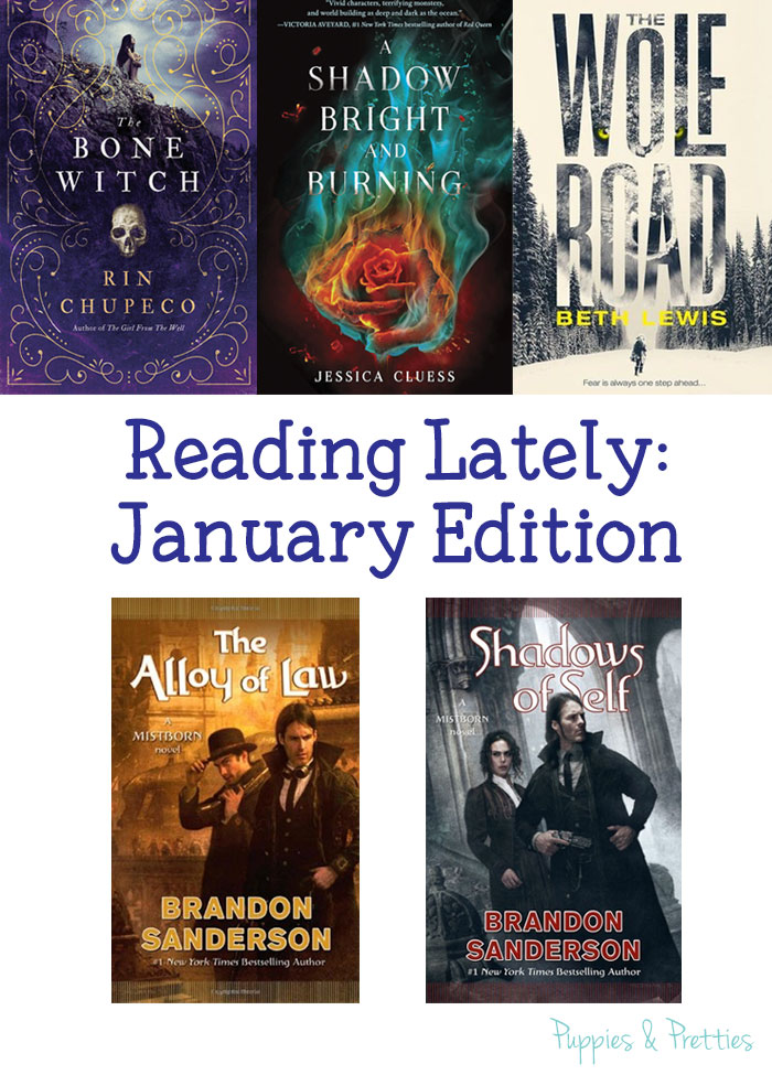 Reading Lately: January Edition. Quick reviews of The Bone Witch, A Shadow Bright and Burning, The Wolf Road, The Alloy of Law, and Shadows of Self | Puppies & Pretties