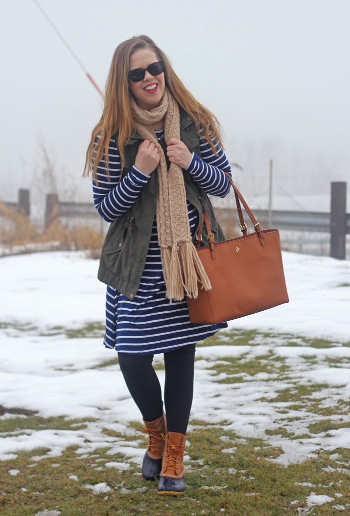 Utility Vest & Stripes: green utility vest, navy striped dress, scarf, LL Bean boots, Tory Burch tote   Puppies & Pretties