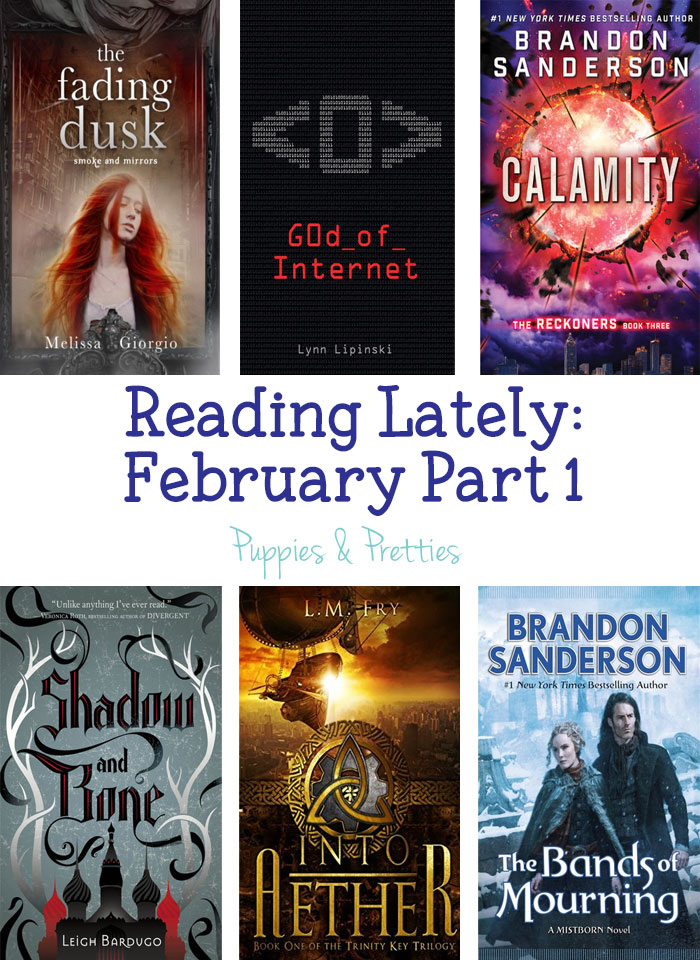 Reading Lately: reviews of The Fading Dusk by Melissa Giorgio, God of Internet by Lynn Lipinski, Calamity by Brandon Sanderson, Shadow and Bone by Leigh Bardugo, Into Aether by L.M. Fry, The Bands of Mourning by Brandon Sanderson | Puppies & Pretties