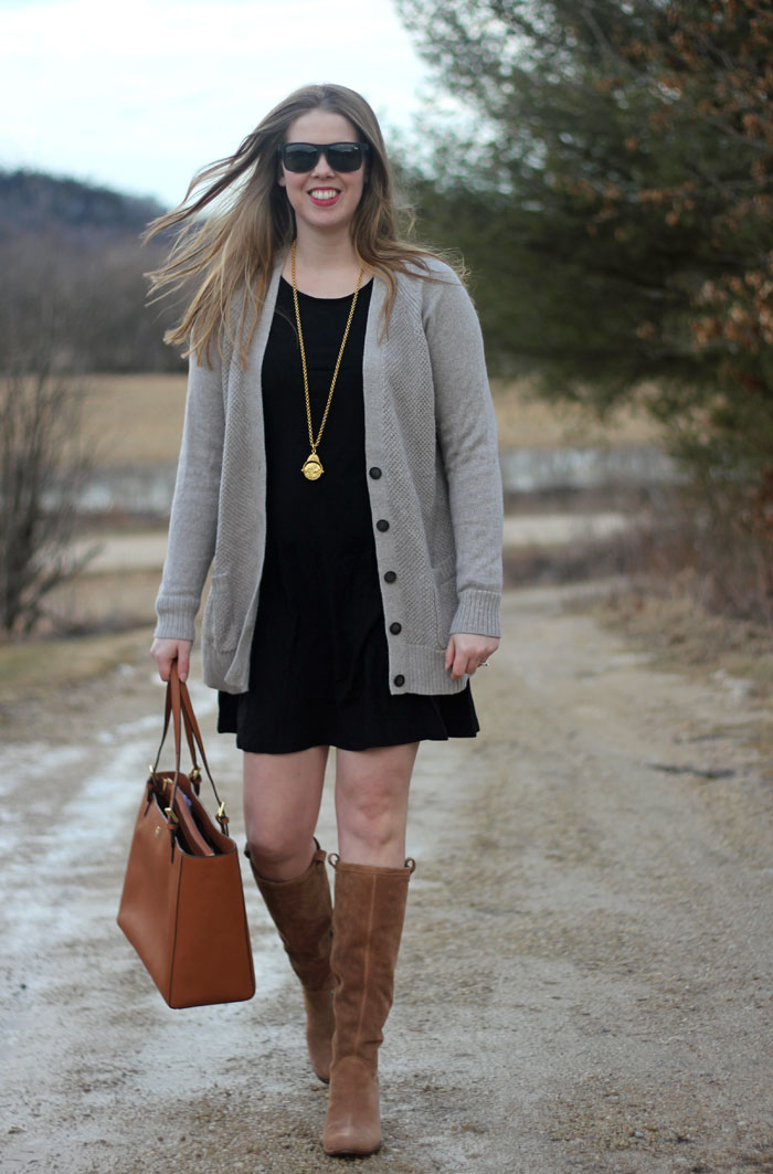 Neutrals All Day: Black Express trapeze dress, grey cardigan, brown UGG Ava boots, Tory Burch tote, Julie Vos pendant | Puppies & Pretties