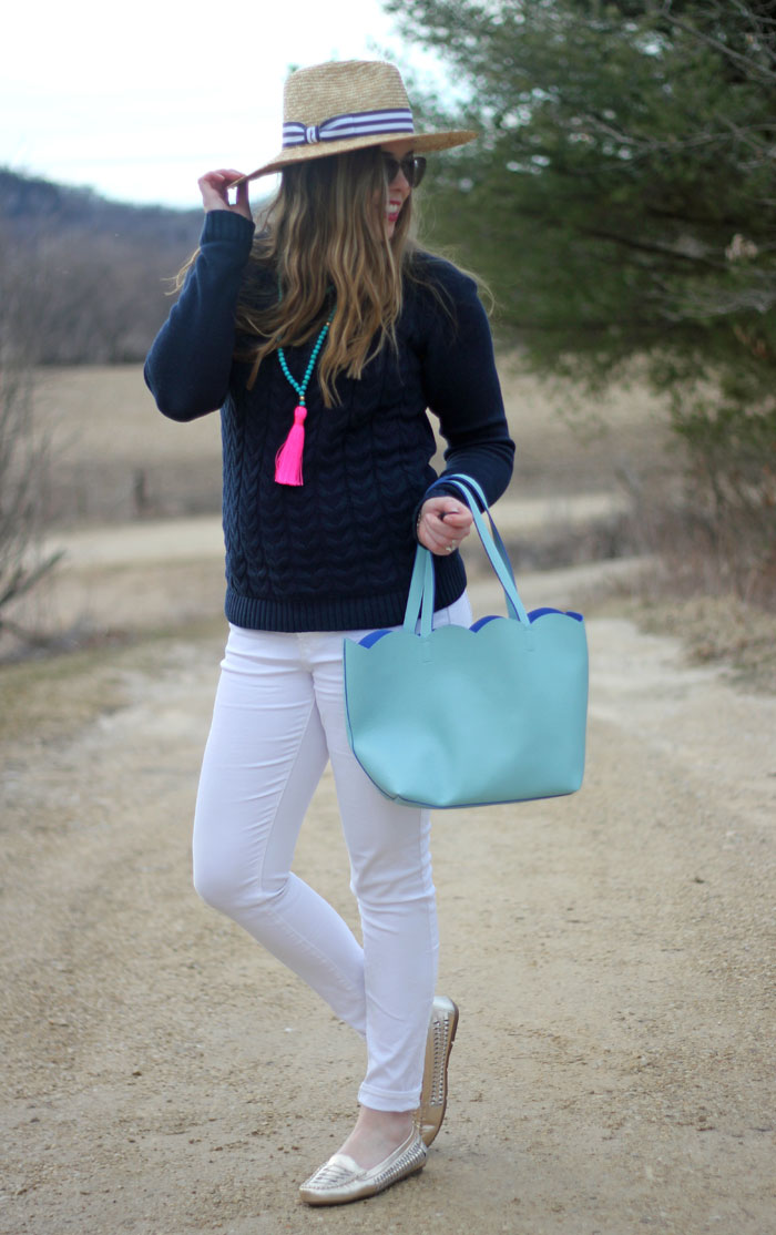 Spring Brights: Lands' End drifter sweater in navy, white Old Navy jeans, gold Vionic flats, pink tassel necklace, Hat Attack hat, Deux Lux mint tote   Puppies & Pretties