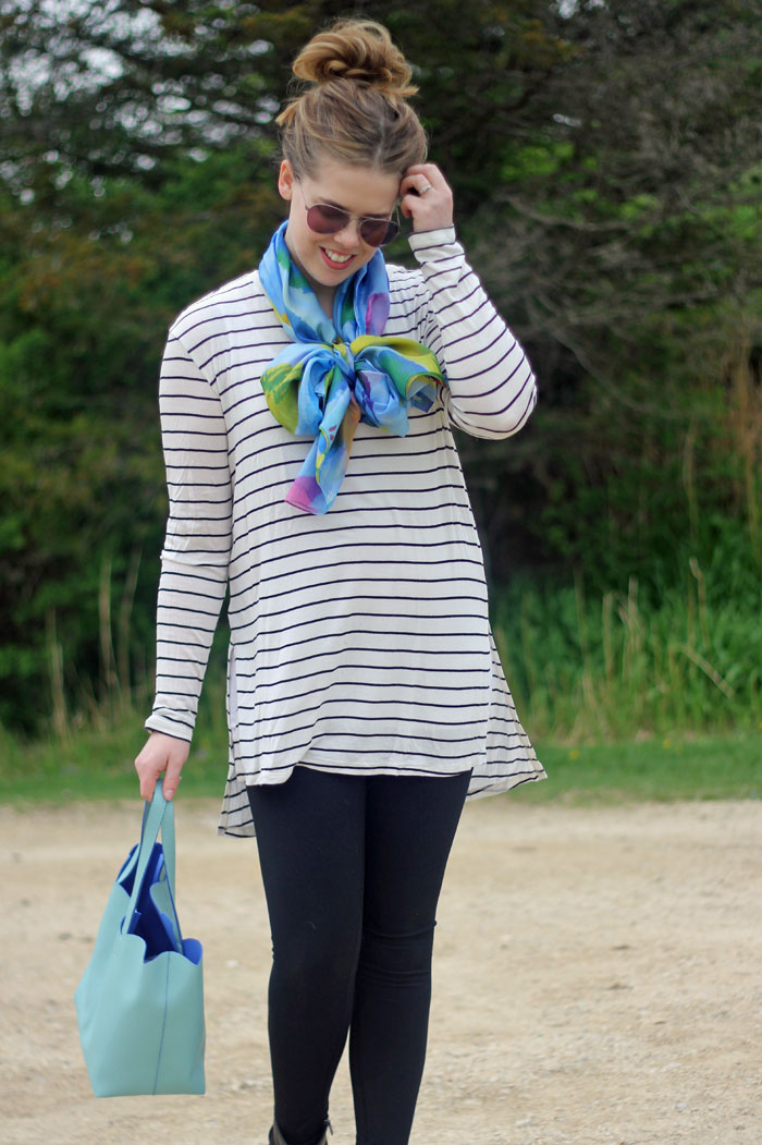 GYPO floral scarf, bow scarf, striped tunic, Zella leggings, Deux Lux mint scallop tote, Clarks booties   stripes and florals   Puppies & Pretties