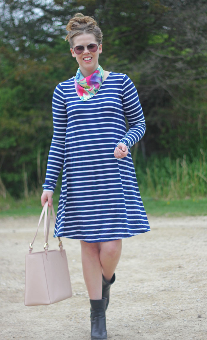 GYPO bandana scarf, navy striped dress from Old Navy, Tory Burch York tote, Clarks booties   Puppies & Pretties