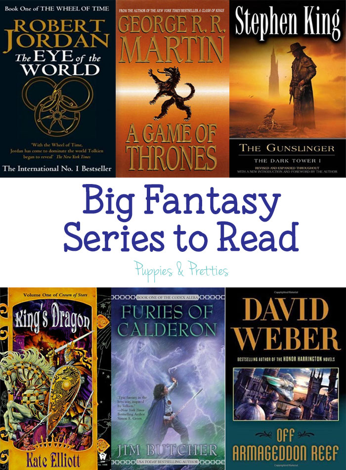 Big fantasy series to read: want to not have to worry about what you are going to read for awhile? Pick up a big fantasy series including The Wheel of Time by Robert Jordan; A Song of Ice & Fire by George R.R. Martin; The Dark Tower by Stephen King; Crown of Stars by Kate Elliott; Codex Alera by Jim Butcher; and Safehold by David Weber | Puppies & Pretties