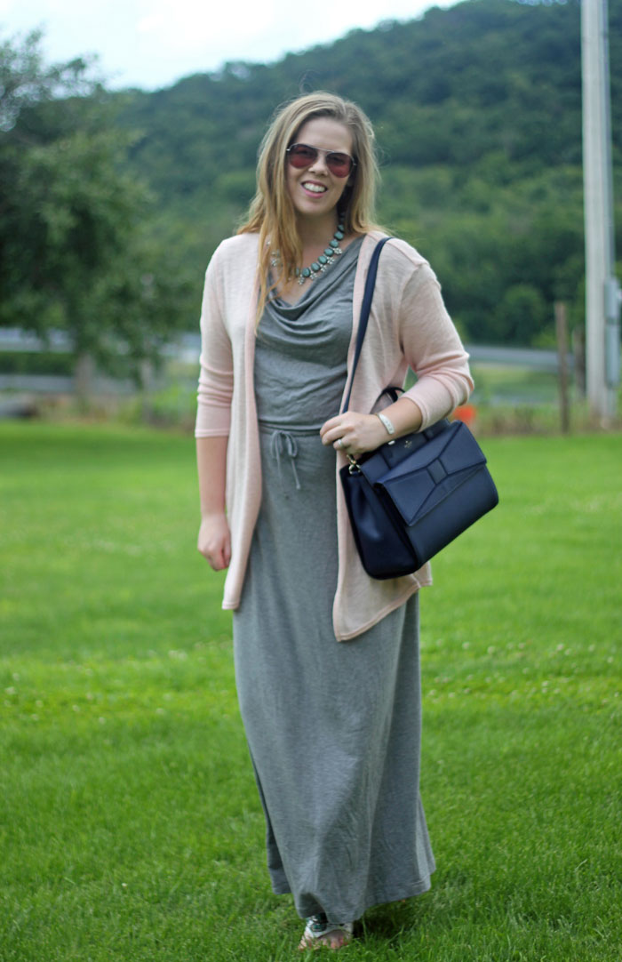Pink and Turquoise: grey maxi dress, pink cardigan, turquoise statement necklace, Kate Spade bow bag | Puppies & Pretties