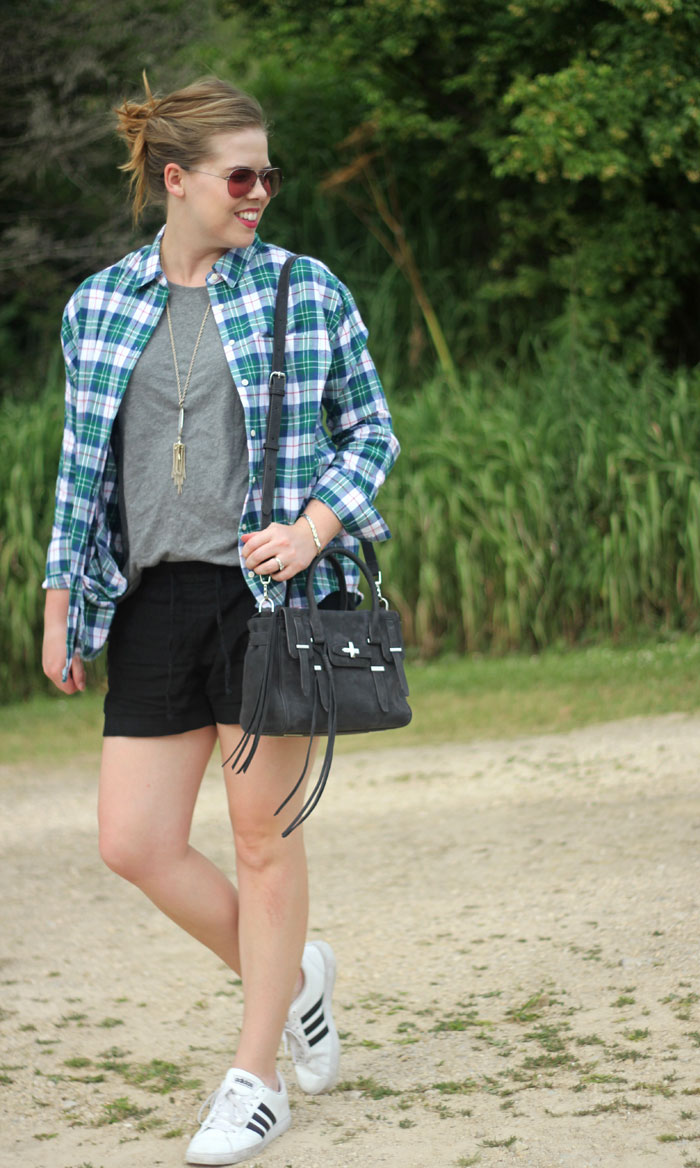 Flannel for Almost Fall: Lauren James flannel, Old Navy linen short, grey tank top, Kendra Scott Rayne necklace, adidas sneakers, Rebecca Minkoff purse | Puppies & Pretties