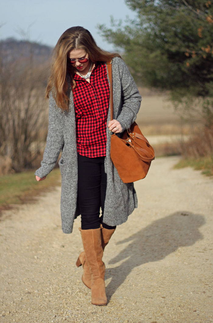 Red Plaid and Neutrals: Old Navy plaid top, grey cardigan, black jeans, Ugg Ava boots, Loren Hope Chloe bow tie necklace | Puppies & Pretties