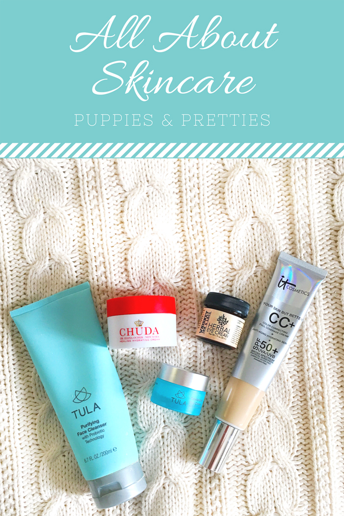 All About Skincare: my daily skincare routine   Tula purifying cleanser, Chuda Hydrating Cream, Tula eye cream, IT Cosmetics CC+ Cream, micellar water   Puppies & Pretties