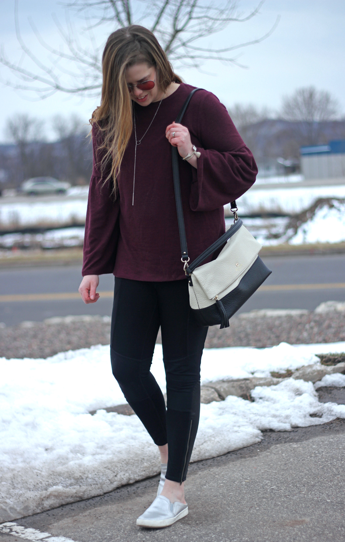 Athleisure at Work: maroon bell sleeve top, Athleta leggings, Happiness Boutique minimalist necklace, silver Naturalizer slip ons, Kate Spade bag   Puppies & Pretties