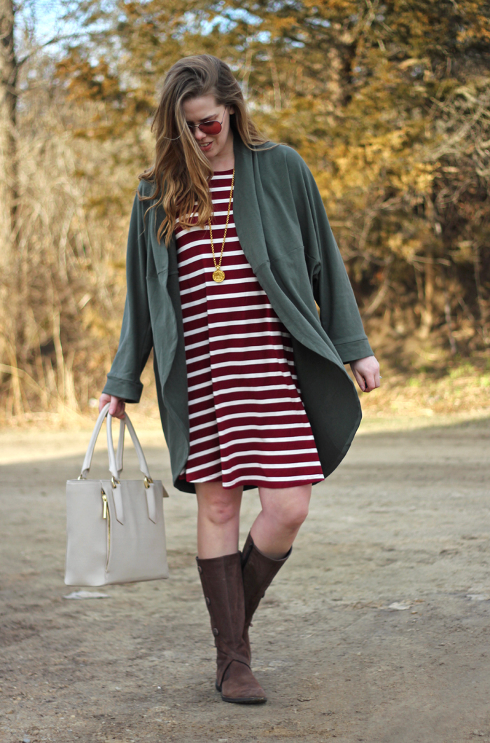 Olive and Maroon: Old Navy swing dress with maroon and white stripes, Caslon olive cocoon cardigan, Merrell knee high boots, Dagne Dover tote, Julie Vos pendant | Puppies & Pretties