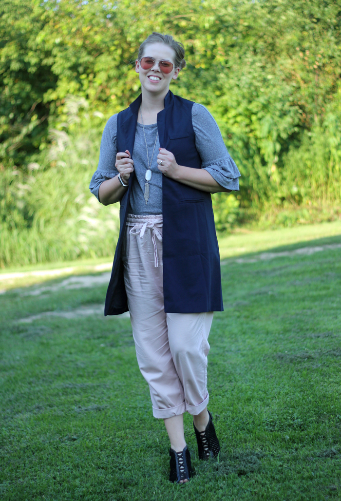 Long Blue Vest and Pink Vest: Grey ruffle top, long navy vest and pink ankle pants | A great late summer outfit | Puppies & Pretties