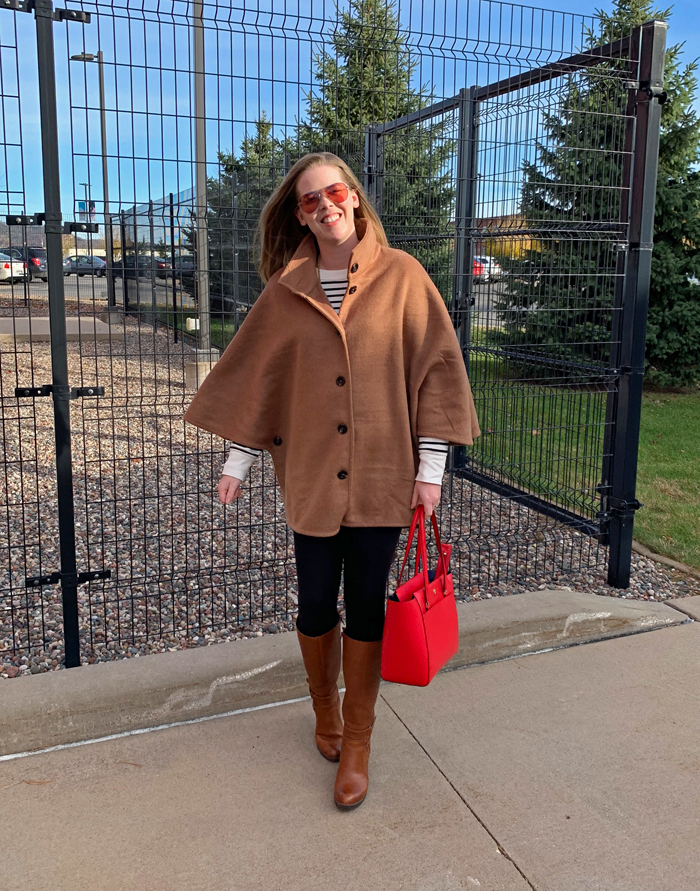 Camel Cape with Stripes: Ann Taylor poncho coat, Old Navy striped tunic, leggings, brown riding boots, red Tory Burch bag   Puppies & Pretties