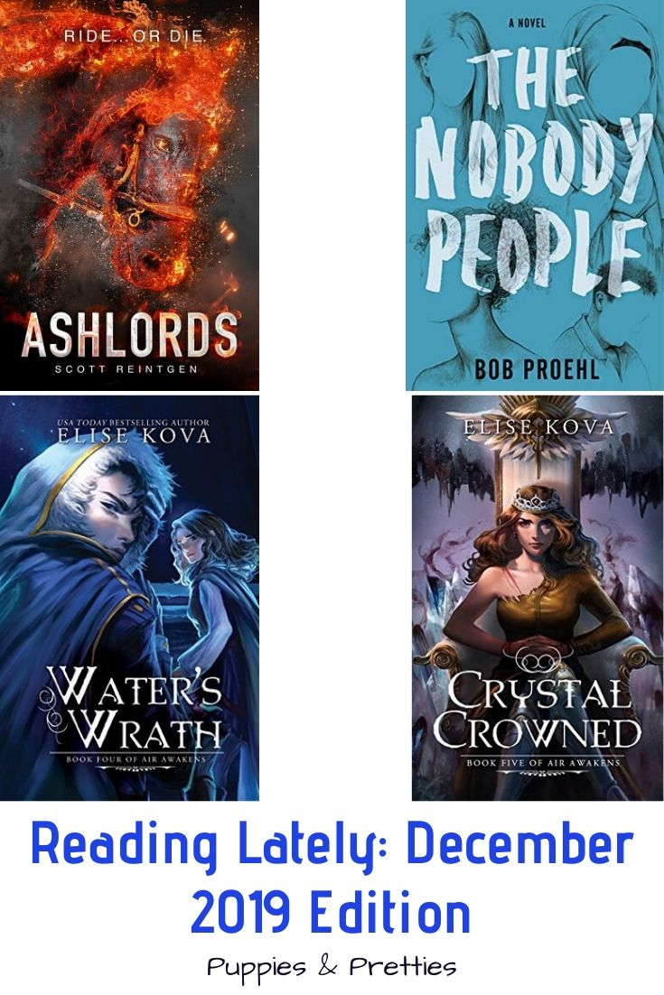 Reading Lately: December 2019 Edition | Book reviews of Ashlords by Scott Reintgen; The Nobody People by Bob Proehl; Water's Wrath and Crystal Crowned by Elise Kova | Puppies & Pretties