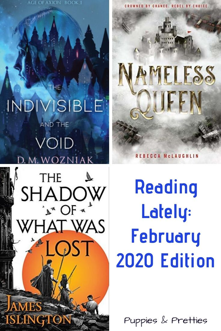Reading Lately: February 2020 Edition   book reviews of The Indivisible and the Void by D.M. Wozniak; Nameless Queen by Rebecca McLaughlin; The Shadow of What Was Lost by James Islington   Puppies & Pretties